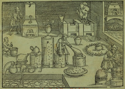 Scientific apparatus in the alchemist's workshop, 1580